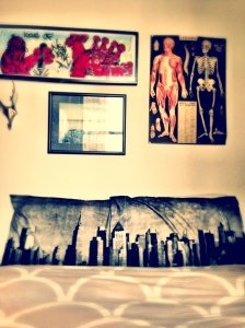 Our NYC skyline pillows! We snagged these from Urban Outfitters